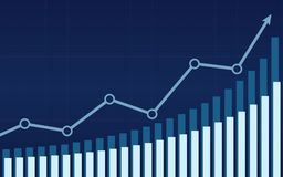 Uptrend line arrows with bar chart in stock market on blue color background. Uptrend line arrows with bar chart in stock market on blue color Stock Photography