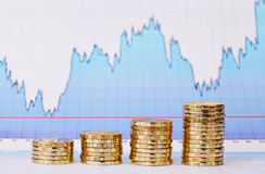 Uptrend stacks of golden coins and financial  chart Royalty Free Stock Image