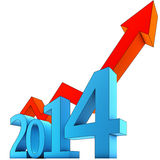 Upturn 2014. 3D illustration of an upturn concept for 2014 Stock Photos
