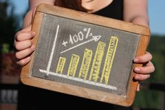 Upturn graph. Sketched with chalk on slate shown by young female Royalty Free Stock Images
