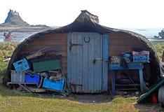 Upturned boat hut, northumberland Stock Images