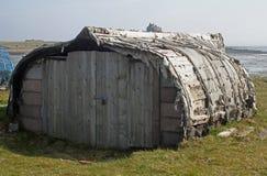 Upturned boat hut, northumberland Stock Photos