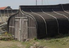 Upturned boat hut, northumberland Royalty Free Stock Images