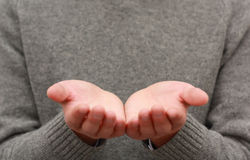 Upturned empty hands royalty free stock photography