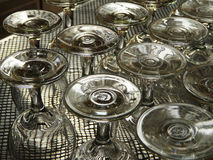 Upturned wineglasses. On counter bar Royalty Free Stock Photography