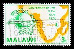 UPU emblem and map of Africa, Centenary of Universal Postal Union serie, circa 1974 Stock Photo