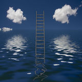 Upward. Ladder Rises out of Body of Water Stock Photo