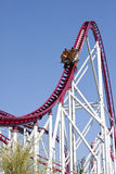 Upward. Photo of a roller coaster car that goes upward at full speed Royalty Free Stock Images
