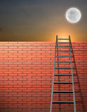 Upward. Ladder leans on wall with sky Royalty Free Stock Images