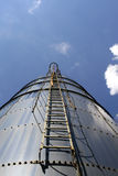 Upward. Ladder and safety cage on farm silo stock photos
