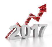 Upward arrow for 2017 formed by numbers. 3d render Stock Photo
