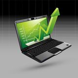 Upward Arrow from Laptop. Illustration of upward arrow coming out of laptop on isolated background royalty free illustration