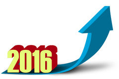 Upward arrow with numbers 2016 Stock Image