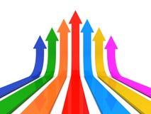 Upward arrows. 3d illustration  on white background Royalty Free Stock Photography