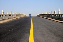 The upward asphalt road bridge Royalty Free Stock Photo
