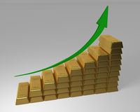 Upward bar chart made of Gold Bars. Stacked Gold Bars making an ascending bar graph with green arrow pointing upwards. 3D rendered Stock Image