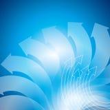 Upward business arrow on blue background Stock Images