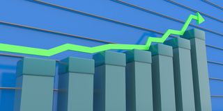 Upward business graph. 3d illustration of upward trend business graph with directional arrow and abstract background Royalty Free Stock Images