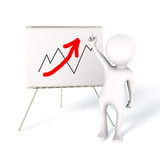 Upward business sales trend. 3D person pointing up next to chart with red arrow. Upward business sales trend royalty free illustration