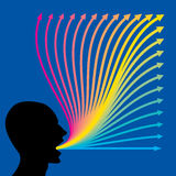 Upward colorful arrow and human head Stock Image