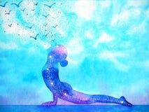 Upward facing dog yoga pose mind art abstract watercolor painting illustration design hand drawing