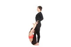 Upward Facing Forward Bend yoga pose with partner Royalty Free Stock Images
