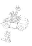 The upward giraffes a sports car chine coloring for kids. The upward giraffes a sports car Stock Images