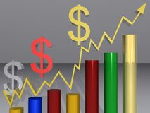 Upward graph and dollar signs. Illustration of colorful bar graph showing upward trend with arrow and Dollar symbols, light background stock illustration