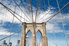 Upward image of Brooklyn Bridge Stock Photo