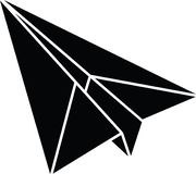 Flat paper plane icon full resizable editable vector in black color Royalty Free Stock Photos