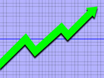 Upward Trend. An image of a graph with a upward trending arrow vector illustration