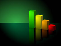 Upward Trending Green Business 3D Bar Graph Stock Photos