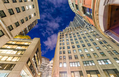 Upward view of Boston skyscrapers at night Royalty Free Stock Photo
