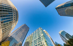 Upward view of City of London corporate buildings, UK Royalty Free Stock Photos