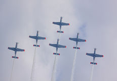 Upward view of a flying the Polish Air Force Orlik Aerobatics Te Royalty Free Stock Images