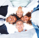 Upward view of happy business people Royalty Free Stock Image