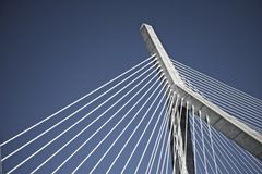 An upward view of a landmark Boston skyline bridge royalty free stock image