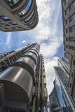 Upward view of modern skyscrapers in the City of London Royalty Free Stock Photography