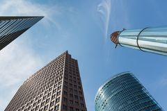 Upward view of modern skyscrapers near Potsdamer Platz in Berlin Royalty Free Stock Photos