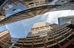Upward view of New York City Skyscrapers. United States Royalty Free Stock Image