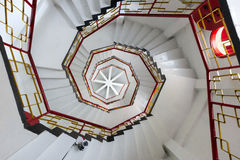Upward view of spiral stairways Royalty Free Stock Images