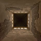 Upward view to the ceiling of a tower of, of Nasrid Palace , Alhambra, Spain. Low angle centered view on the inside of a tower of, of Nasrid Palace , with Stock Photo