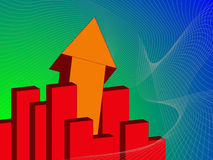 Upwards. Business metaphor or concept of success and positive market trends in vibrant colors Royalty Free Stock Image