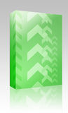 Upwards arrows box package. Software package box Abstract graphic design of upwards pointing arrows Royalty Free Stock Photo