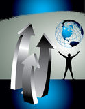 Upwards arrows and globe. An 3D abstract graphic with three arrows pointing upwards with a globe and the silhouette of a man with outstretched arms.  Theme Royalty Free Stock Image
