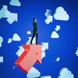 Upwards. Businessman standing on a red flying arrows. Concept business modern 3d illustration Stock Image