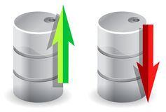 Upwards and downwards Oil prices illustration Stock Images