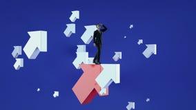 upwards Homme d'affaires se tenant sur des flèches d'un vol de rouge clips vidéos