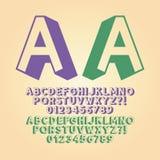 Upwards Isometric Alphabet and Digit Vector Royalty Free Stock Photos