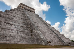Upwards perspective of the main temple in Chichen Itza Royalty Free Stock Photography